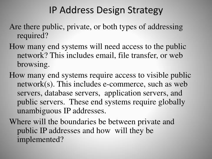 IP Address Design Strategy