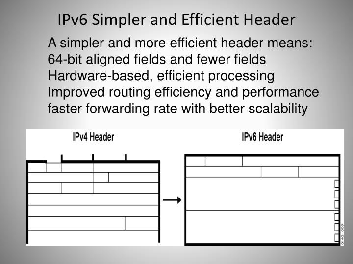 IPv6 Simpler and Efficient Header