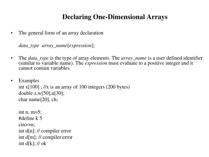 Declaring one dimensional arrays