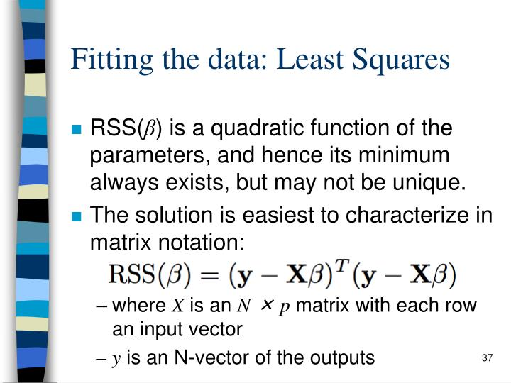 Fitting the data: Least Squares