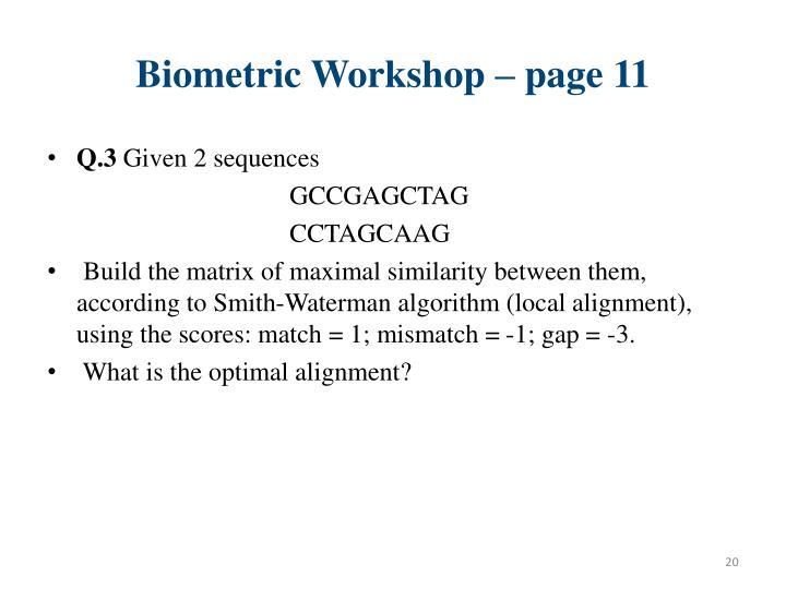 Biometric Workshop – page 11