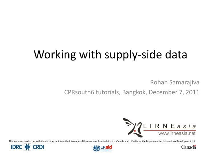 working with supply side data n.