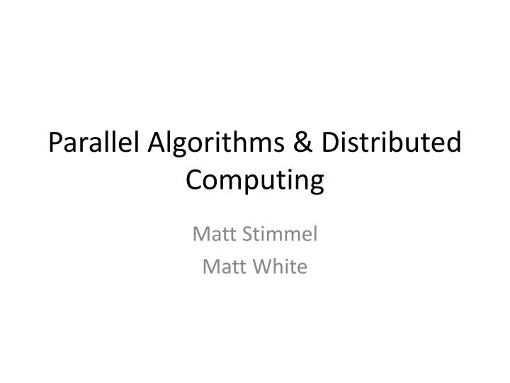 parallel algorithms distributed computing n.