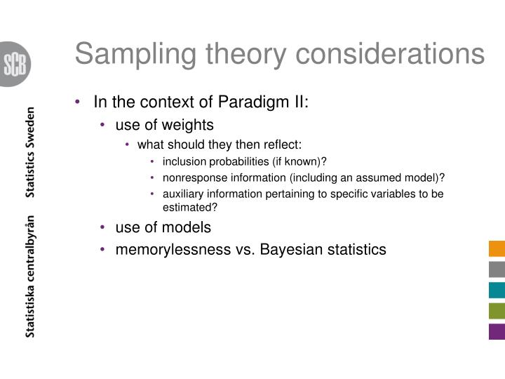 Sampling theory considerations