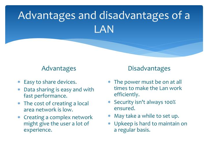 advantages and disadvantages of local area network Advantages and disadvantages of wan  -information may not meet local needs or  tell me advantages and disadvantages of wide area network.