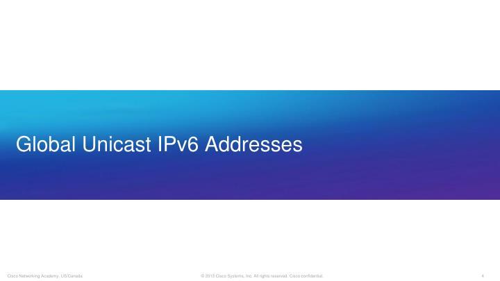Global Unicast IPv6 Addresses