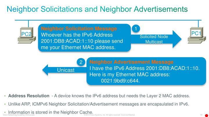 Neighbor Solicitations and Neighbor Advertisements