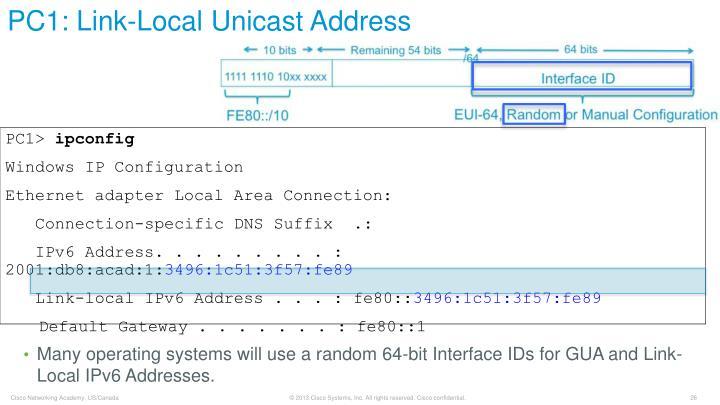 PC1: Link-Local Unicast Address