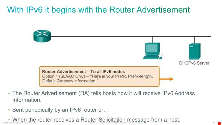 With IPv6 it begins with the Router Advertisement
