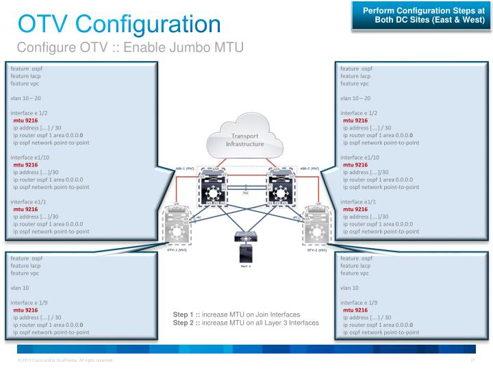 Perform Configuration Steps at Both DC Sites (East & West)