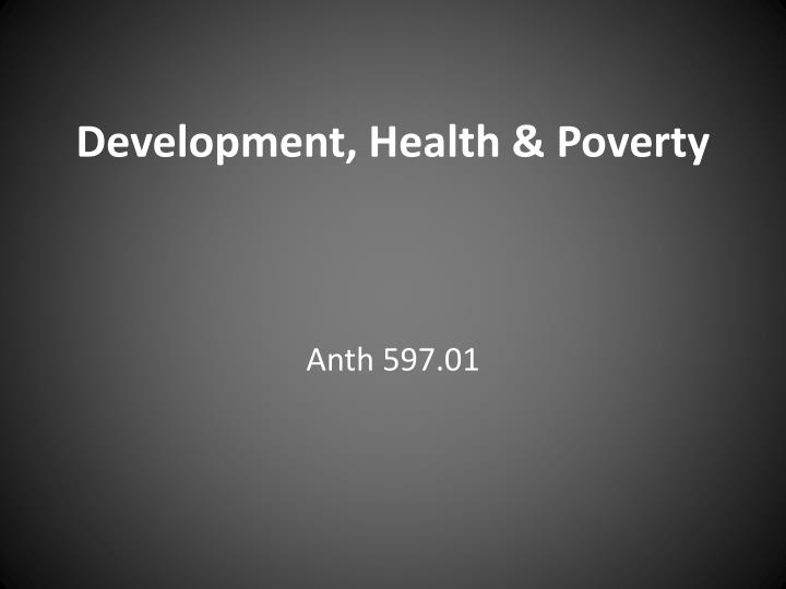 development health poverty n.