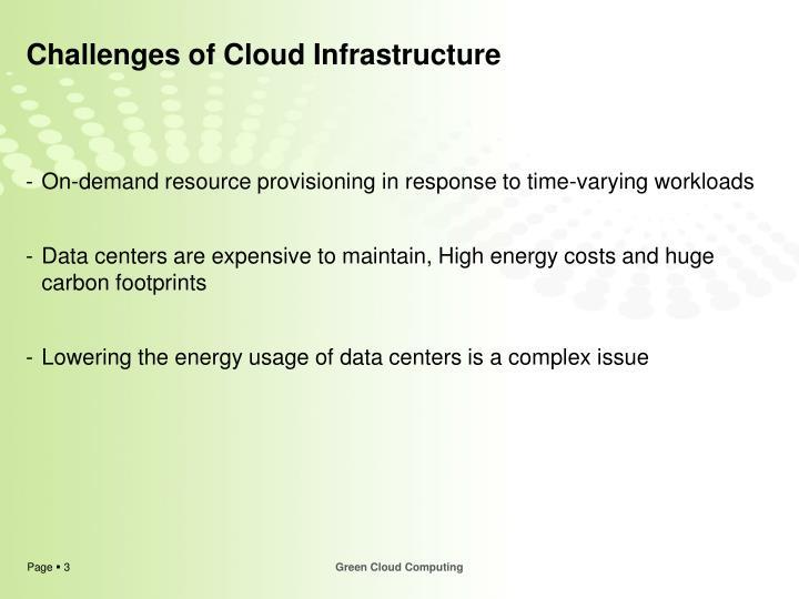 Challenges of cloud infrastructure