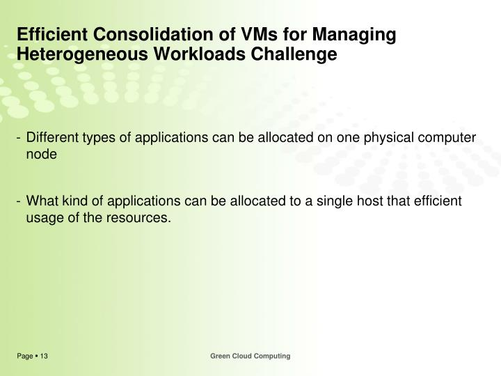 Efficient Consolidation of VMs for Managing Heterogeneous Workloads Challenge
