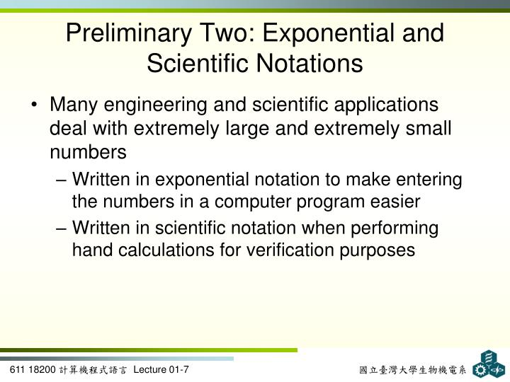 Preliminary Two: Exponential and Scientific Notations