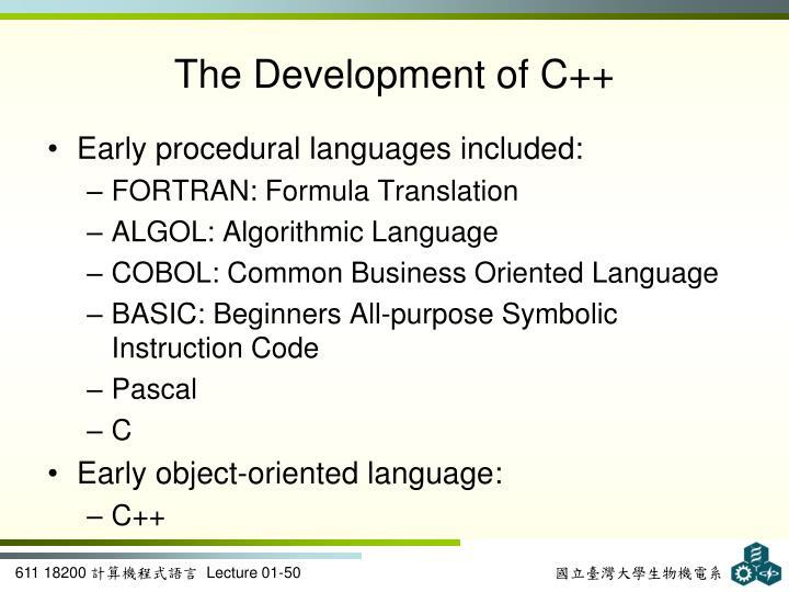The Development of C++