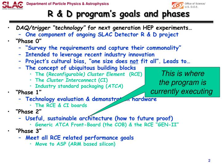 R d program s goals and phases