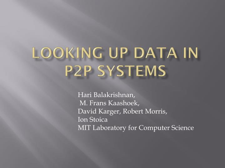 looking up data in p2p systems n.
