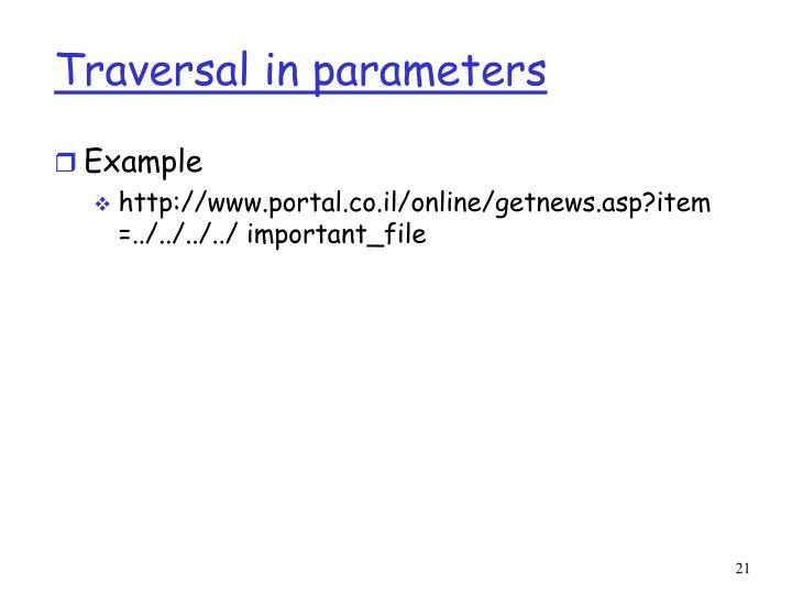 Traversal in parameters
