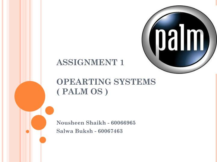 Assignment 1 opearting systems palm os