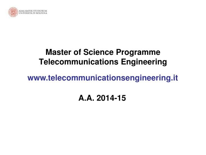 master of science programme telecommunications engineering n.