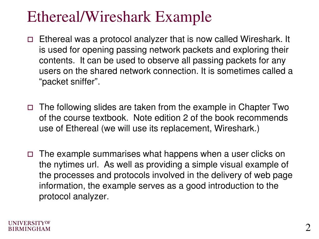 PPT - Computer Networking Ethereal/Wireshark Packet Capture