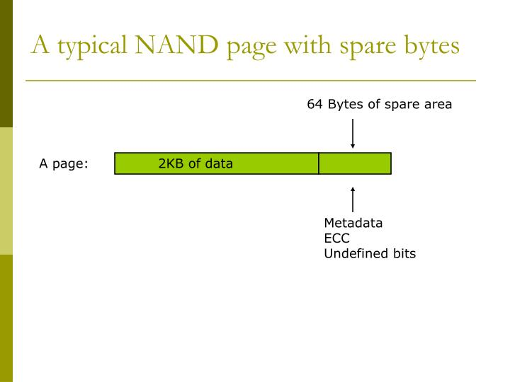 A typical NAND page with spare bytes