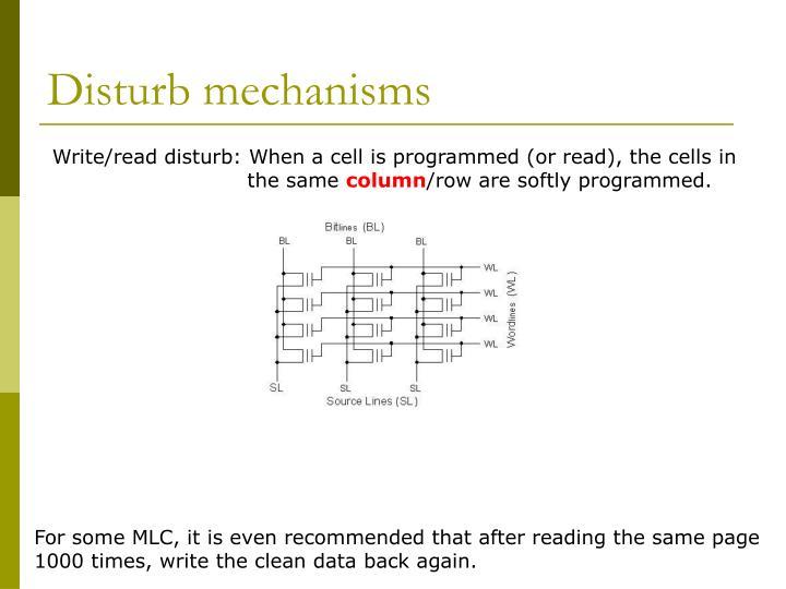Disturb mechanisms