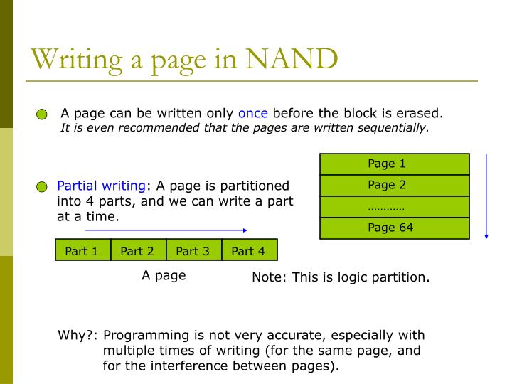 Writing a page in NAND