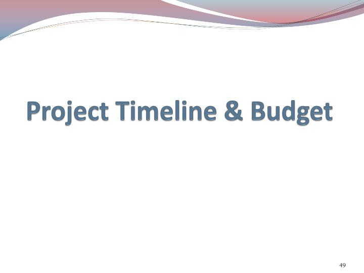 Project Timeline & Budget