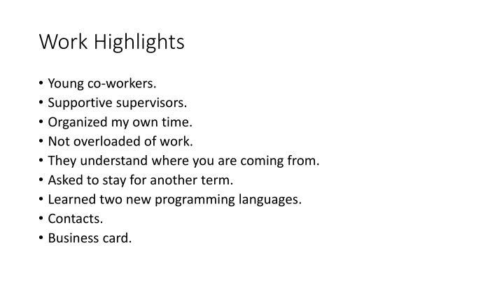 Work Highlights