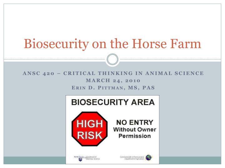 biosecurity on the horse farm n.
