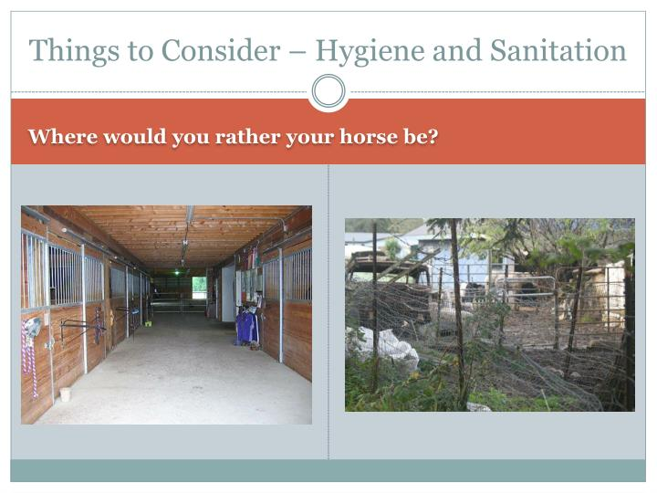 Things to Consider – Hygiene and Sanitation