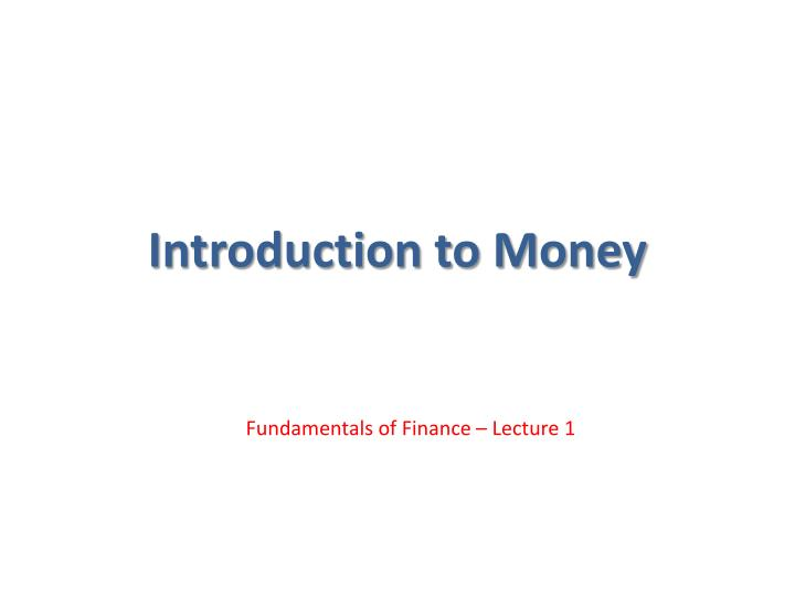 introduction to money n.