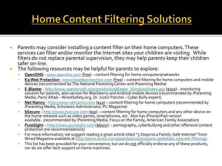 Home Content Filtering Solutions