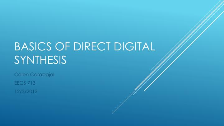 basics of direct digital synthesis n.