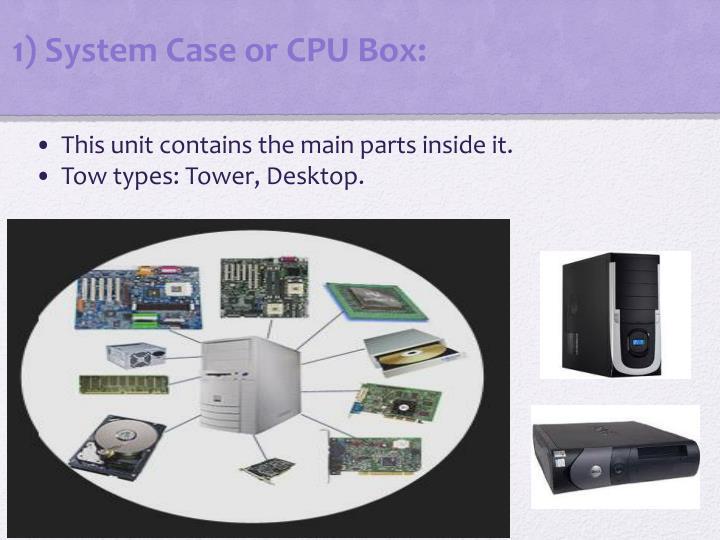 1) System Case or CPU Box: