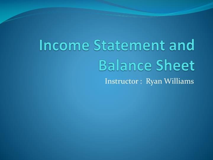 income statement and balance sheet n.