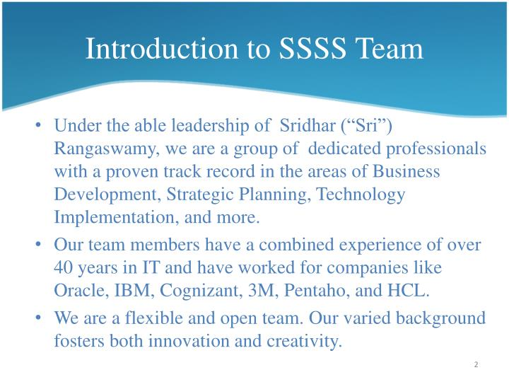 Introduction to ssss team