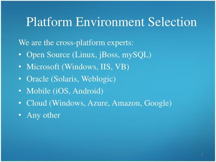 Platform Environment Selection