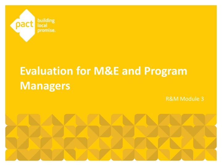 evaluation for m e and program managers n.