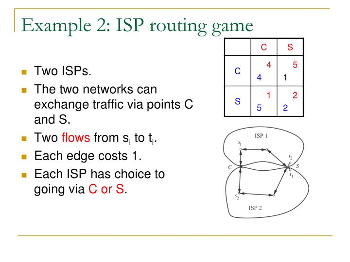 Example 2: ISP routing game