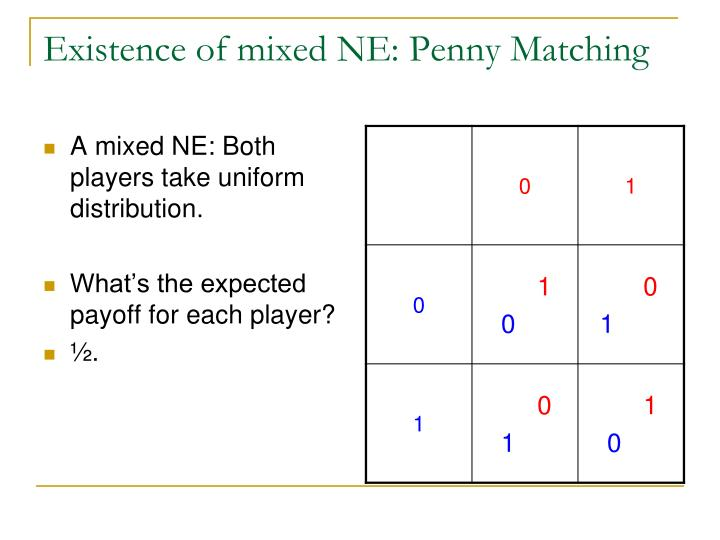 Existence of mixed NE: Penny Matching