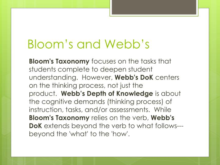 Bloom's and Webb's