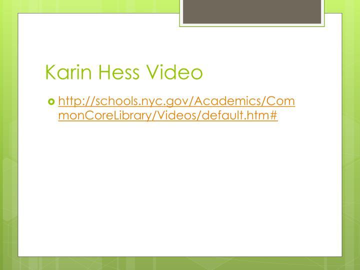Karin Hess Video