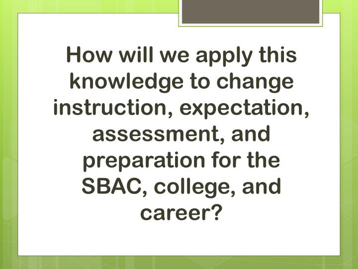 How will we apply this knowledge to change instruction, expectation, assessment, and preparation for the SBAC, college, and career?
