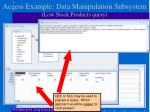 access example data manipulation subsystem low stock products query