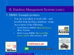 b database management systems cont