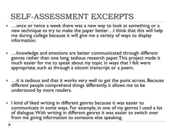 SELF-ASSESSMENT EXCERPTS