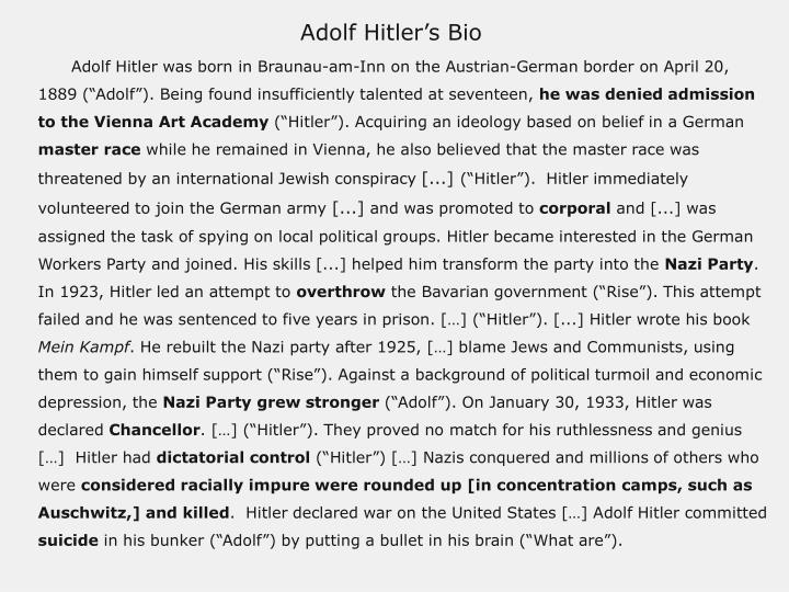 Adolf Hitler's Bio