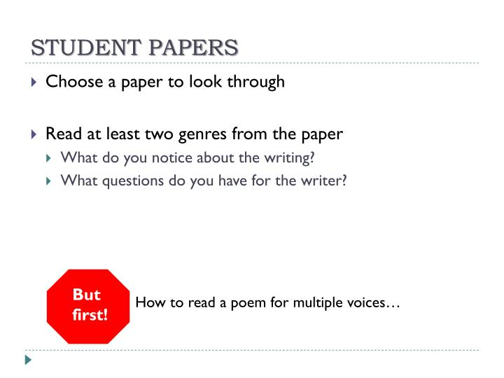 STUDENT PAPERS